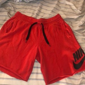 Red nike sweat shorts
